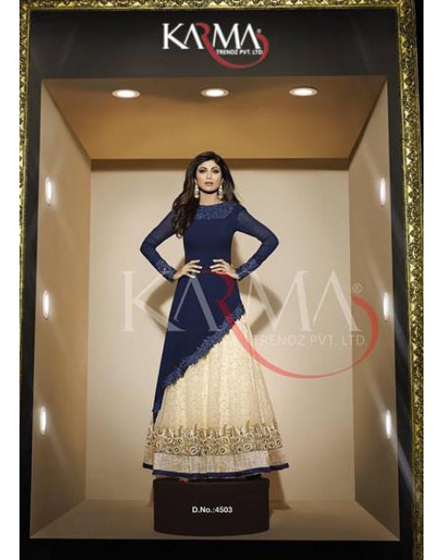 Shilpa Shetty Blue Georgette Floor Length Dress Materials