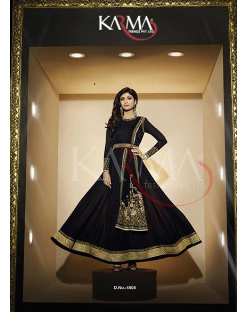 Shilpa Shetty Black Georgette Jacquard Floor Length Dress Materials