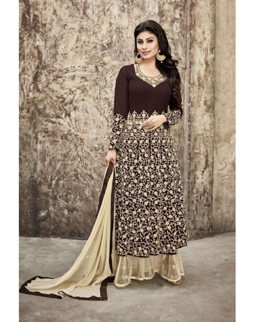 Mouni Roy Brown Designer Georgette Salwar Kameez