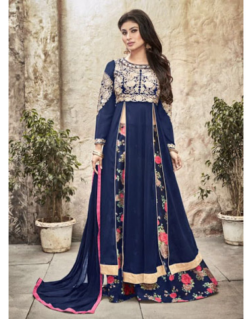 Mouni Roy Blue Designer Net And Goergette Salwar Kameez