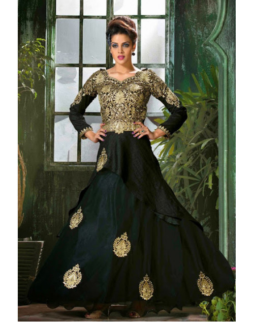 Black and GoldenRod Semi Stitched Designer Salwar Kamiz
