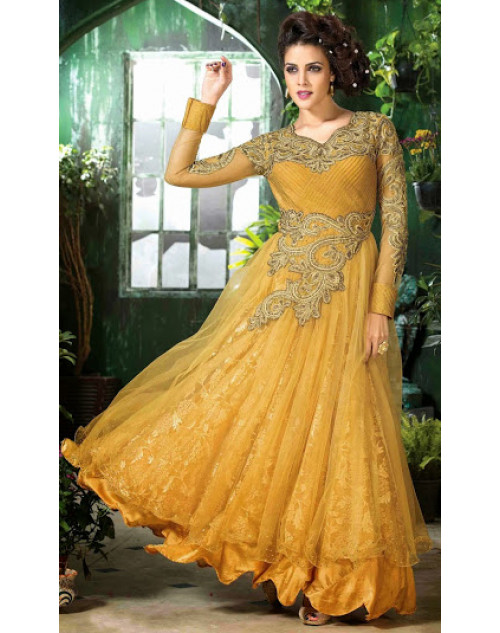 Orange Semi Stitched Designer Salwar Kamiz