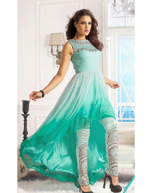 Aqua Georgette Designer Dress Materials