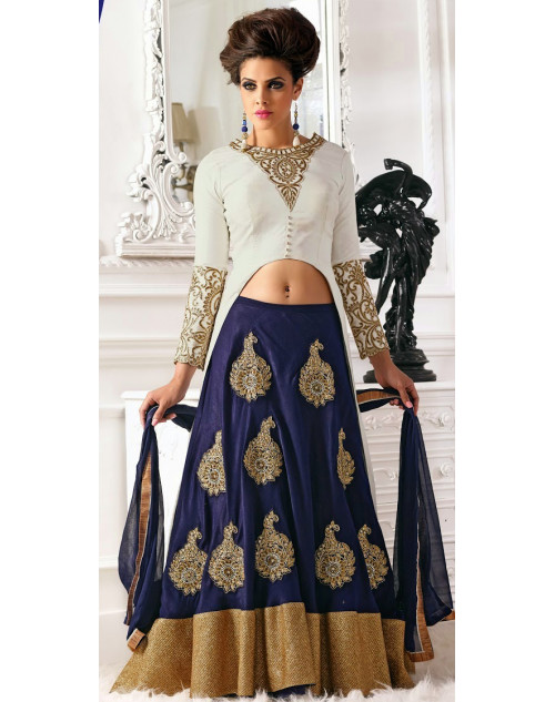 White and DarkSlate Blue Bhagalpuri Lehenga