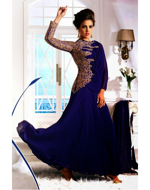 Blue Pure Georgette Designer Dress Materials