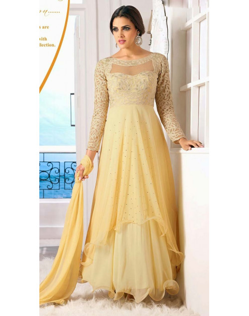 LightGoldenRodYellow Pure Georgette Designer Dress Materials