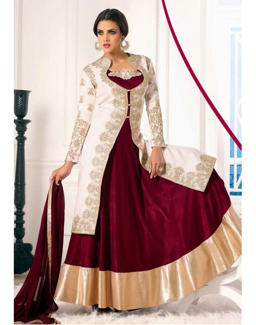 White and Maroon Georgette Bhagalpuri Lehenga