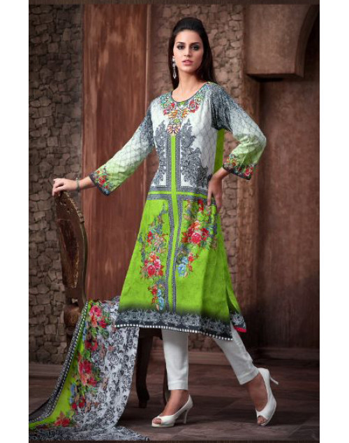 Designer Green and Grey Cotton Printed Suit