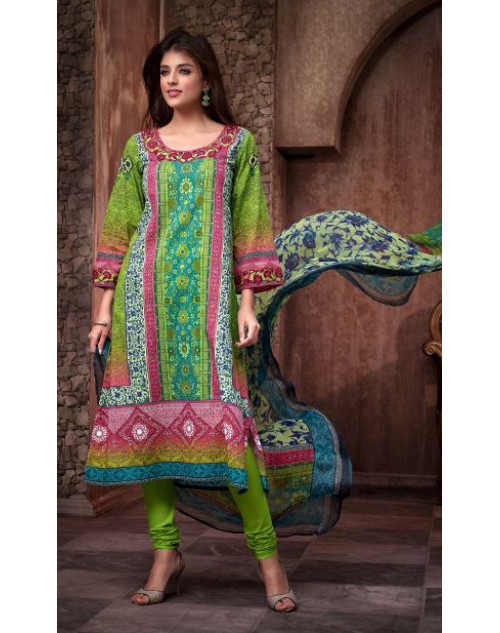 Designer Pale Green Cotton Printed Suit