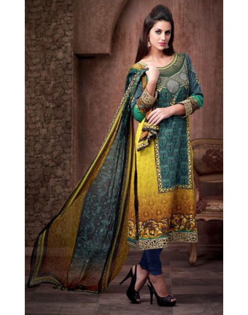 Designer Silver and Yellow Cotton Printed Suit