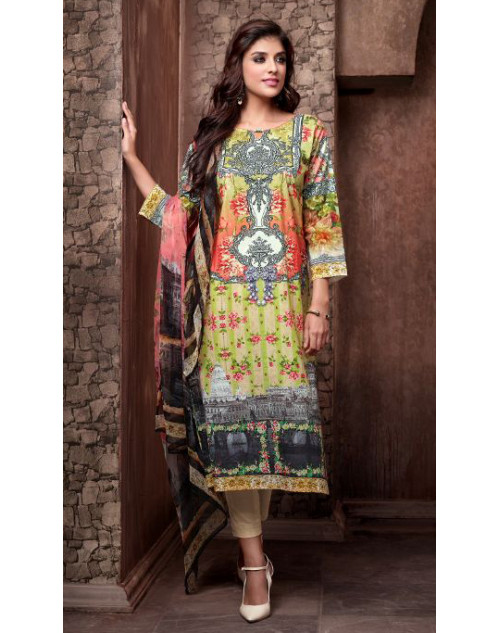 Designer Light Yellow and Orange Cotton Printed Suit
