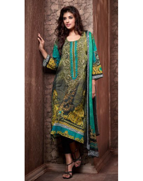 Designer Turquoise Cotton Printed Suit