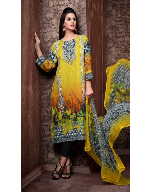 Designer Yellow Cotton Printed Suit