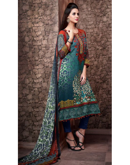 Designer Red and Turquoise Cotton Printed Suit