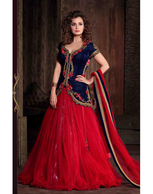 Dia Mirza Designer Blue and Red Viscose and Net Wedding Suit