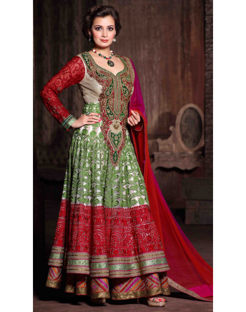 Dia Mirza Designer Red and Off-white Net Wedding Suit