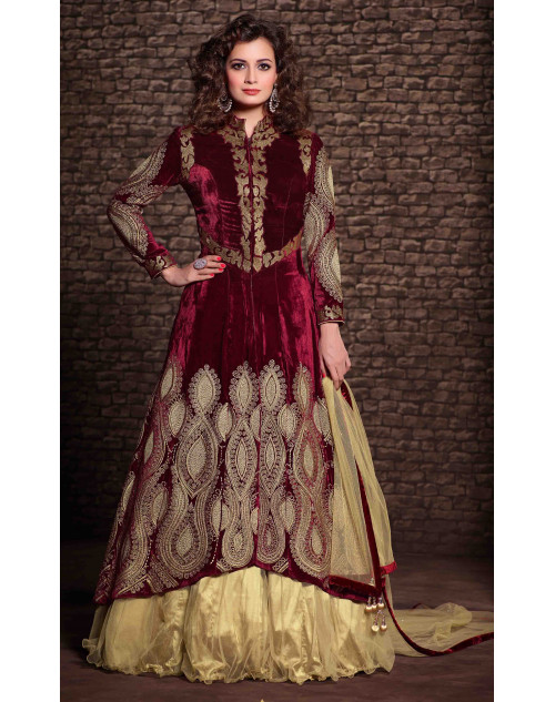 Dia Mirza Designer Maroon Viscose and Net Wedding Suit