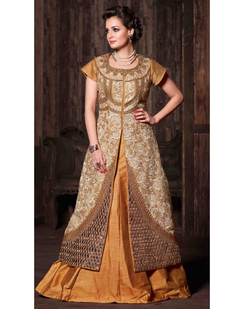Dia Mirza Designer Orange Banarasi Silk Wedding Suit