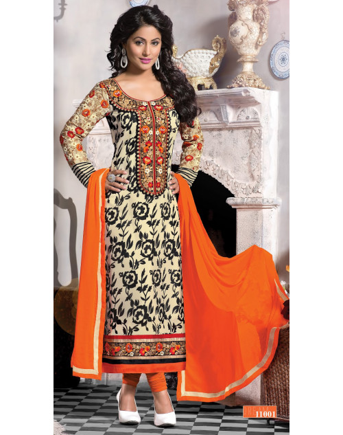 Heena Khan Off White and Coral Georgette with Embroidery Suit