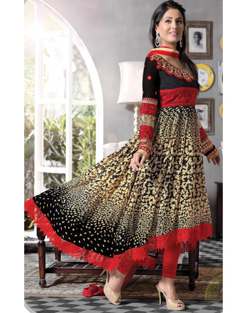 Heena Khan Black and Red Georgette with Embroidery Suit