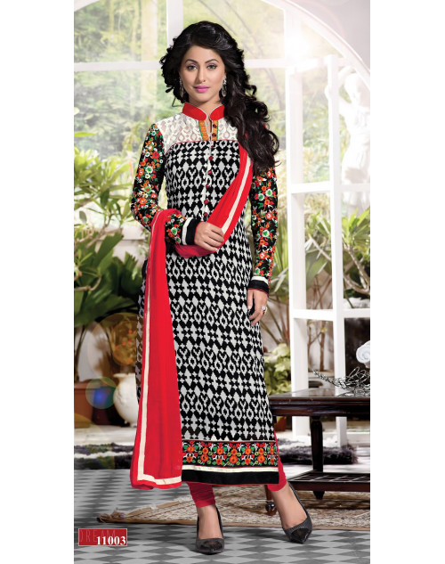 Heena Khan White and Black Georgette with Embroidery Suit