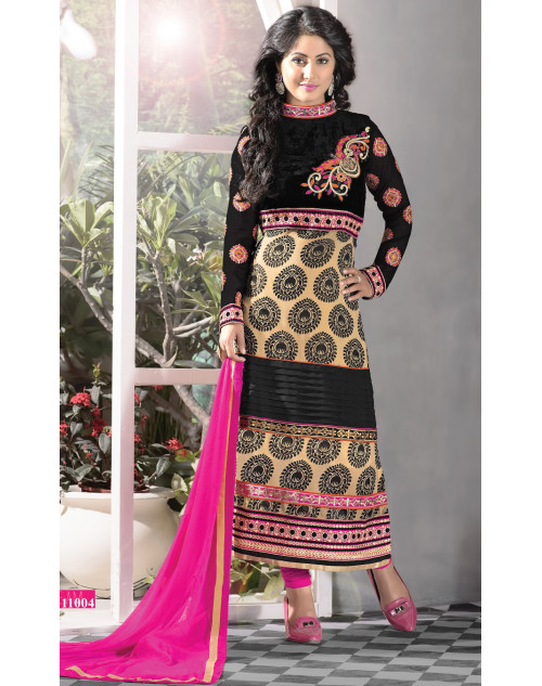 Heena Khan Black and PaleGoldenRod Georgette with Embroidery Suit