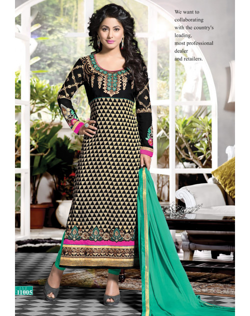 Heena Khan Black and Cornsilk Georgette with Embroidery Suit