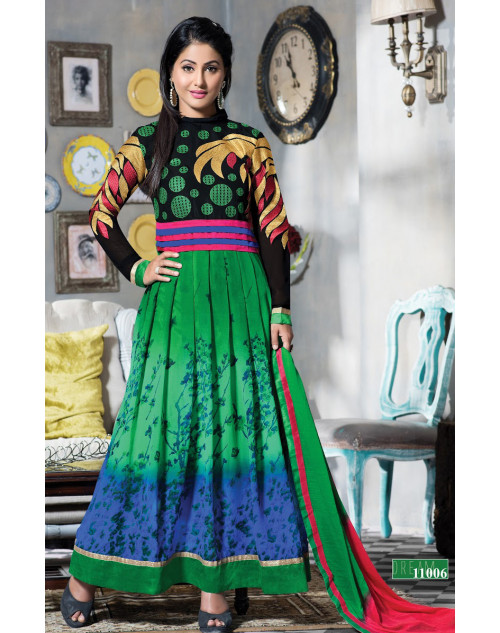 Heena Khan Green and black Georgette with Embroidery Suit