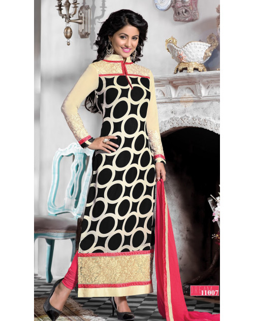 Heena Khan Black and Moccasin Georgette with Embroidery Suit