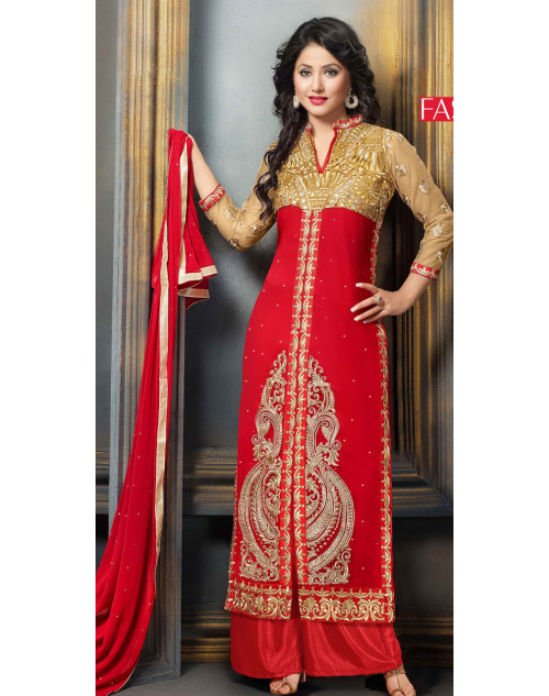 Heena Khan Red and PaleGoldenRod Georgette Party Wear Salwar Kamiz