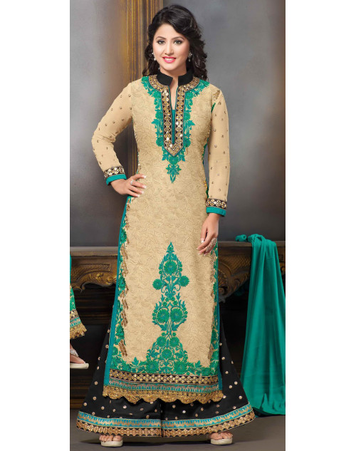 Heena Khan Pale Green and PaleGoldenRod Georgette Party Wear Salwar Kamiz