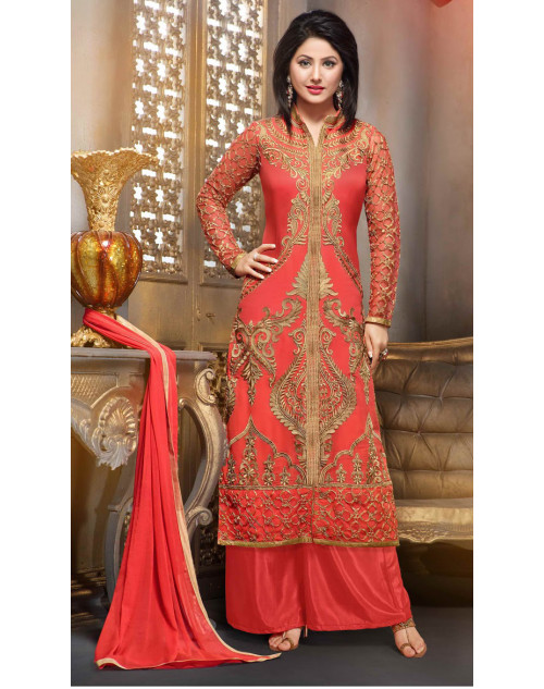 Heena Khan Tomato Georgette Party Wear Salwar Kamiz