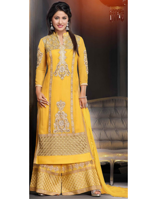 Heena Khan Yellow Georgette Party Wear Salwar Kamiz