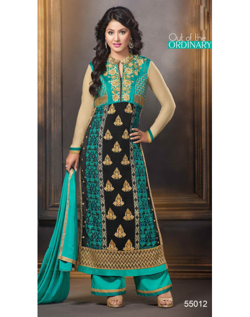 Heena Khan Black and Turquoise Georgette Party Wear Salwar Kamiz