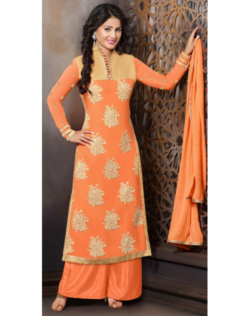 Heena Khan Light Salmon Georgette Party Wear Salwar Kamiz