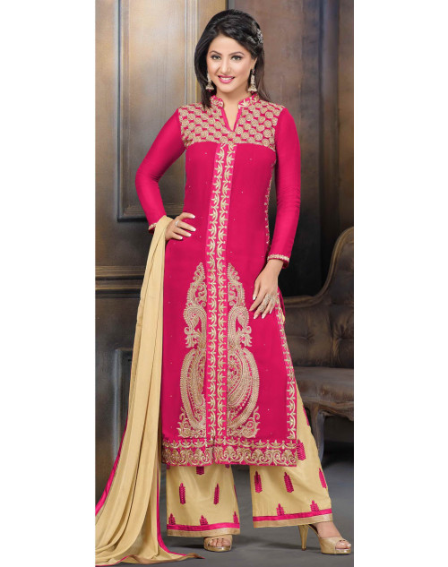 Heena Khan Deep Pink and Floral-white Georgette Party Wear Salwar Kamiz