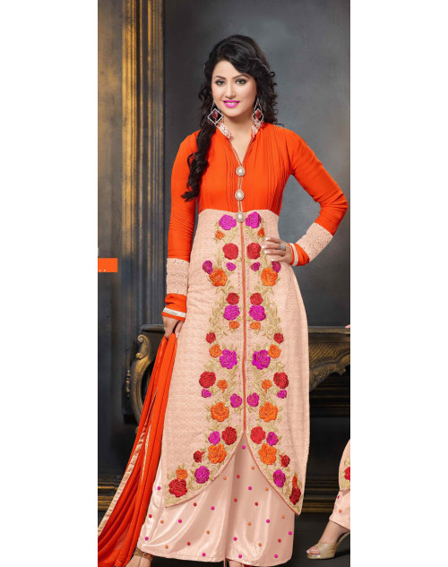 Heena Khan Coral and Bisque Georgette Party Wear Salwar Kamiz