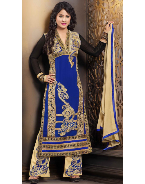 Heena Khan Blue and Black Georgette Party Wear Salwar Kamiz