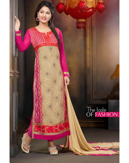 Heena Khan Pink Georgette Party Wear Salwar Kamiz