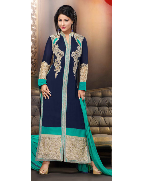 Heena Khan Aqua and Blue Georgette Party Wear Salwar Kamiz
