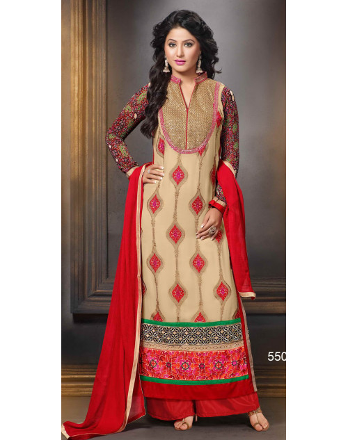 Heena Khan Cornsilk and Crimson Georgette Party Wear Salwar Kamiz