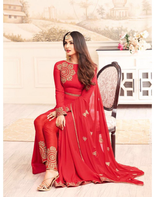 Sonal Chahuhan Latest Rangoli Function Wear Red Designer Salwar Kameez