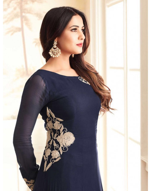 Sonal Chahuhan Latest Georgette Function Wear Navy Designer Salwar Kameez
