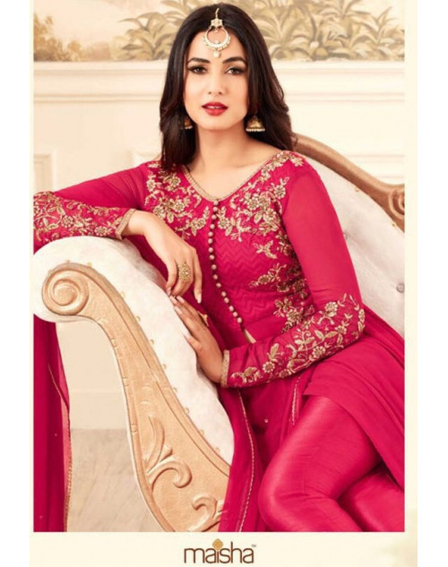 Sonal Chahuhan Latest Georgette Function Wear DeepPink Designer Salwar Kameez