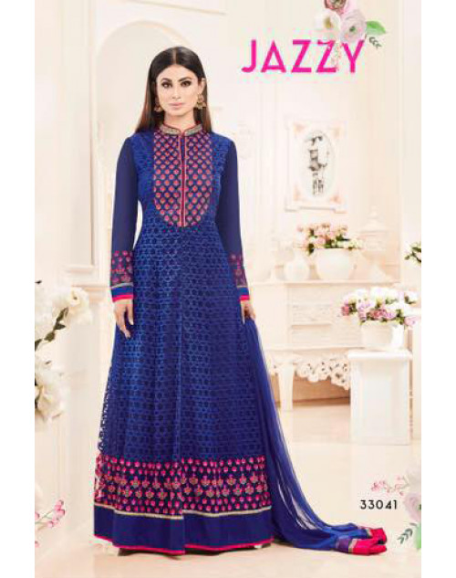 Mouni Roy Blue Heavy Net With Heavy Embroidery Wedding Salwar Kameez