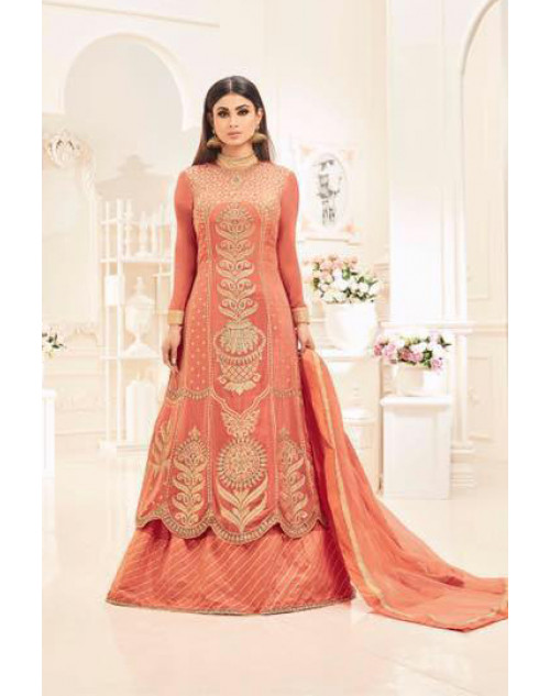 Mouni Roy Salmon Faux Georgette With Heavy Embroidery Wedding Salwar Kameez
