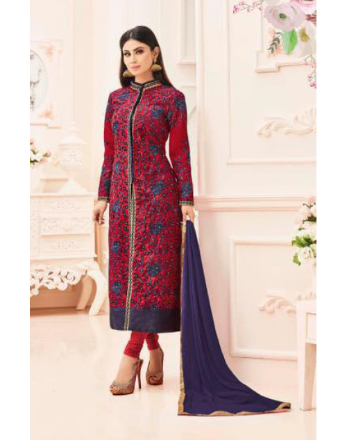 Mouni Roy Crimson Heavy Silk With Heavy Embroidery Wedding Salwar Kameez