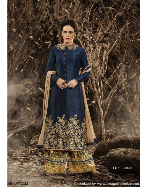 Latest Designer Navy Blue Bhagalpuri Floor Length Partywear Suit