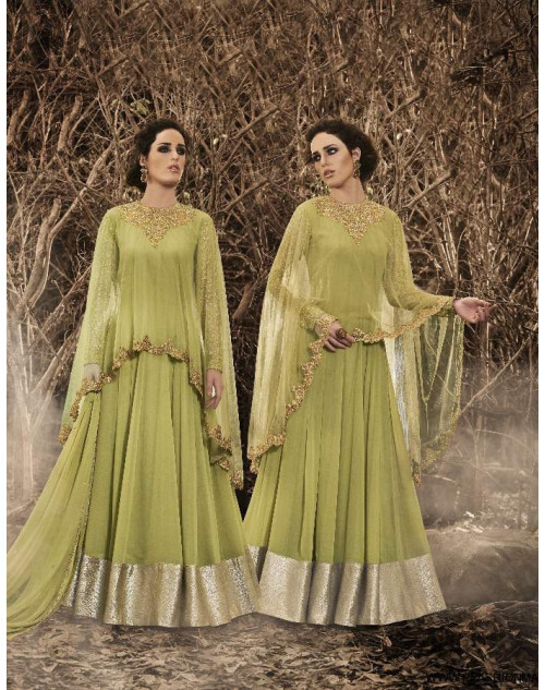 Latest Designer Liril Georgette And Net Floor Length Partywear Suit