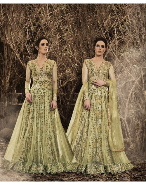 Latest Designer Olive Net Floor Length Partywear Suit